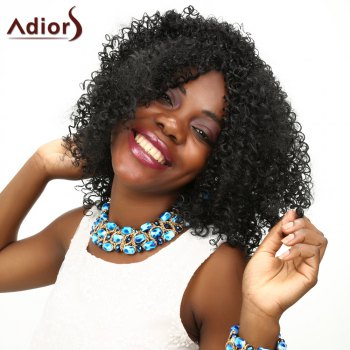 Adiors Kinky Curly Medium Middle Parting Shaggy Synthetic Wig - BLACK