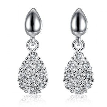 Rhinestoned Teardrop Drop Earrings