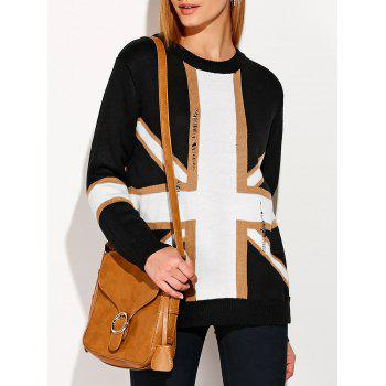 Distressed Flag Graphic Sweater