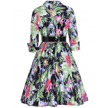 Flower Print Belted Swing Dress - GRASS GREEN 2XL