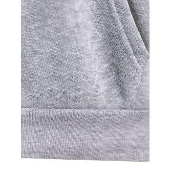 Letter Print Drawstring Hoodie with Pockets - GRAY S