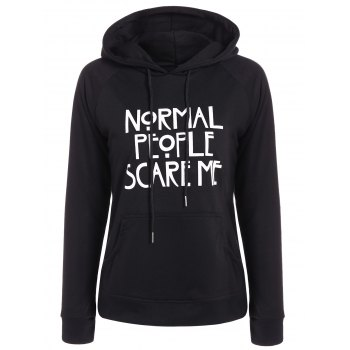 Pullover Funny Print Drawstring Hoodie
