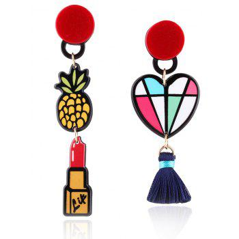 Asymmetric Lipstick Tassel Heart Drop Earrings