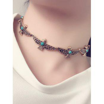 Artificial Turquoise Peace Dove Choker Necklace
