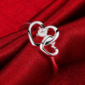 Strass Coeur Double Amour Bague Forme - SILVER 8