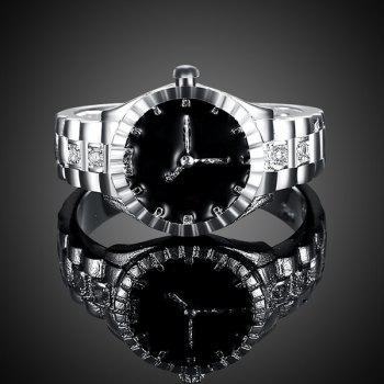 Rhinestone Watch Shape Ring - SILVER 8