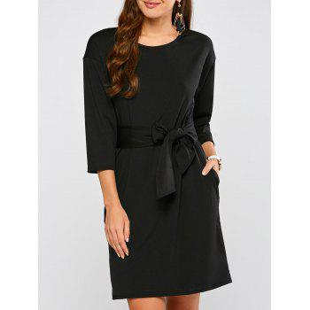 Drop Shoulder Belted Dress