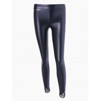 Lace Panel PU Leather Bodycon Leggings