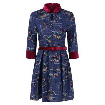Funny Patterned Vintage Denim Dress - DENIM BLUE DENIM BLUE
