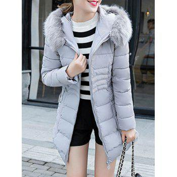 Textured Faux Fur Hooded Padded  Coat
