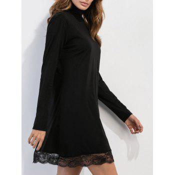 High Neck Mesh Trim Long Sleeve Dress - BLACK BLACK