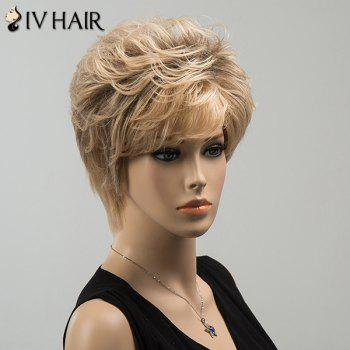 Shaggy Side Bang Short Curly Siv Human Hair Wig -  COLORMIX
