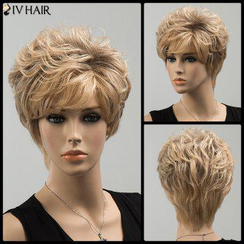 Shaggy Side Bang Short Curly Siv Human Hair Wig - COLORMIX COLORMIX