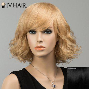 Gorgeous Shaggy Side Bang Short Curly Siv Human Hair Wig - JET BLACK 01# JET BLACK