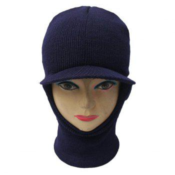 Warmer Elastic Knit Face Mask Neck with Brim Ski Cap