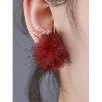 Flannelette Ball Adorn Stud Earrings - BURGUNDY BURGUNDY