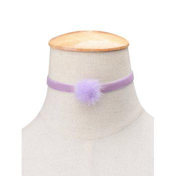 Flannelette Ball Choker Necklace - PURPLE PURPLE
