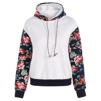 Stylish Long Sleeve Floral Spliced Women's Pullover Hoodie - WHITE WHITE