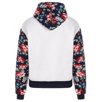 Stylish Long Sleeve Floral Spliced Women's Pullover Hoodie - WHITE M