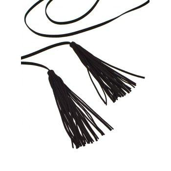 Layered Double Tassel Sweater Chain -  BLACK