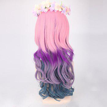 Long Full Bang Colored Layered Wavy Cosplay Synthetic Wig - COLORFUL