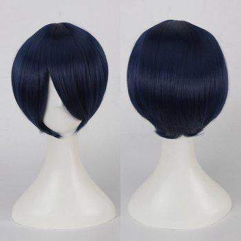 Multicolor Short Oblique Bang Straight Cosplay Synthetic Wig