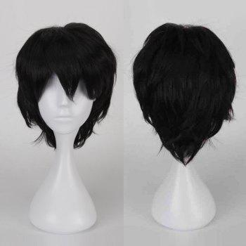 Buy Multicolor Short Oblique Bang Fluffy Straight Cosplay Synthetic Wig BLACK