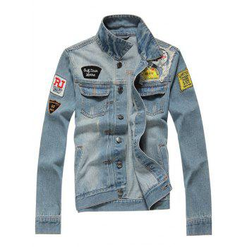 Distressed Turndown Collar Applique Pocket Denim Jacket