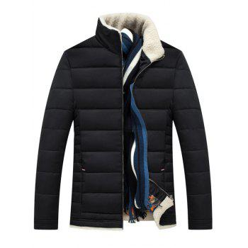 Slim Fit Wool Stand Collar Padded Jacket