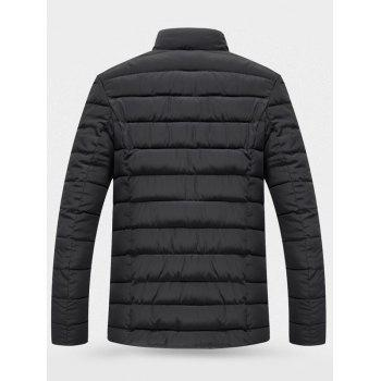 Button Up Wool Stand Collar Padded Jacket - BLACK XL