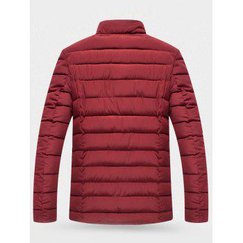 Button Up Wool Stand Collar Padded Jacket - WINE RED L