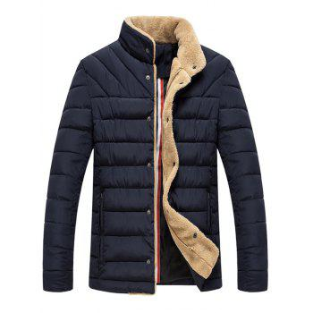 Button Up Wool Stand Collar Padded Jacket