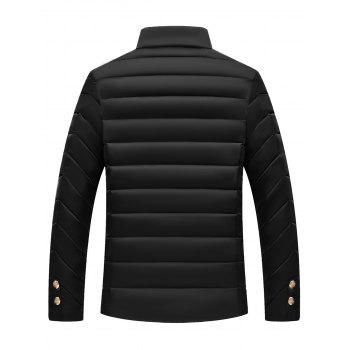 Stand Collar Zipper Button Padded Jacket - BLACK L