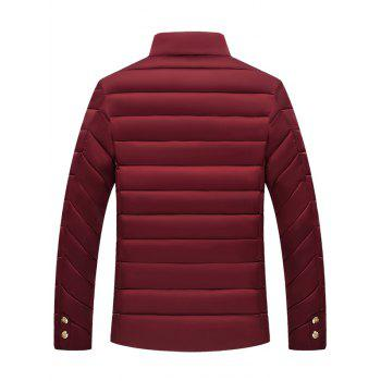 Stand Collar Zipper Button Padded Jacket - WINE RED L