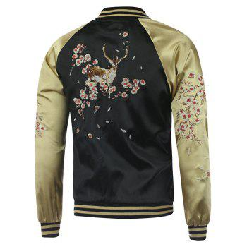 Plum Blossom Color Block Deer Embroidery Raglan Sleeve Jacket - BLACK 2XL