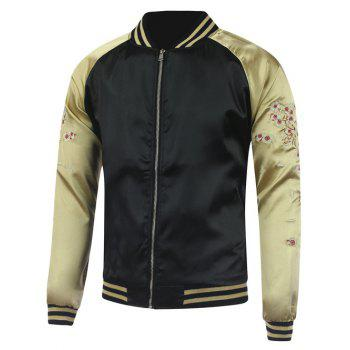 Plum Blossom Color Block Deer Embroidery Raglan Sleeve Jacket