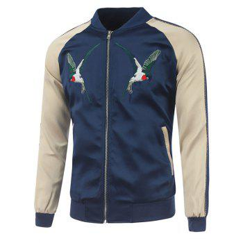 Bird Embroidery Raglan Sleeve Rib Spliced Jacket
