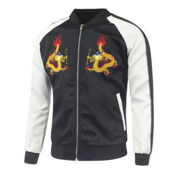 Dragon Embroidery Raglan Sleeve Rib Spliced Jacket