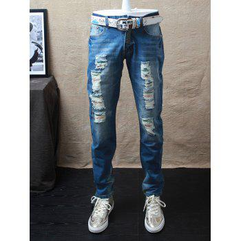 Dyed Straight Leg Distressed Jeans
