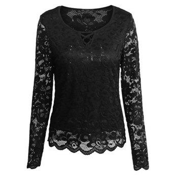 Cutout Long Sleeve Lace Blouse