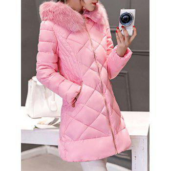 Long Hooded Puffer Coat With Fur Trim
