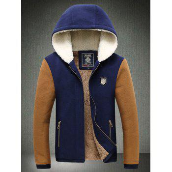 Zipper Up Pocket Color Block Hooded Jacket