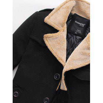Quilted Lining Epaulet Design Zippered Woolen Jacket - BLACK XL