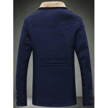 Quilted Lining Epaulet Design Zippered Woolen Jacket - CADETBLUE 2XL