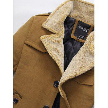 Quilted Lining Epaulet Design Zippered Woolen Jacket - BROWN L
