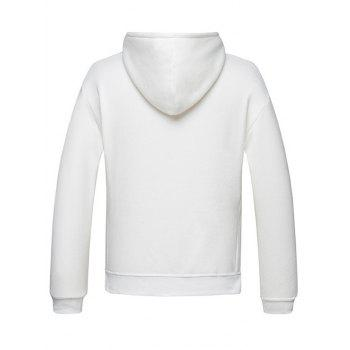 High Low Hem Side Split Pullover Hoodie - WHITE L