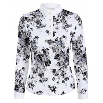 Flower Pattern Lace Ruffle T-Shirt