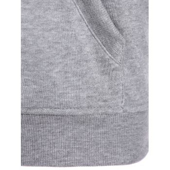 Letters Pattern Sporty Drawstring Hoodie - GRAY 2XL
