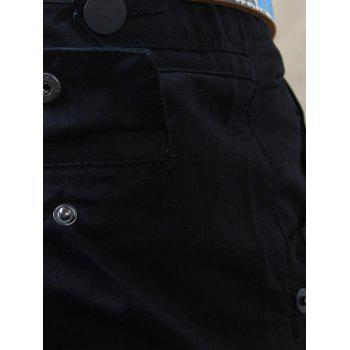 Zip Fly Flap Pockets Straight Casual Pants - BLACK 30