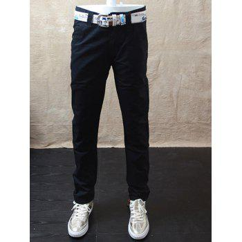 Zip Fly Flap Pockets Straight Casual Pants